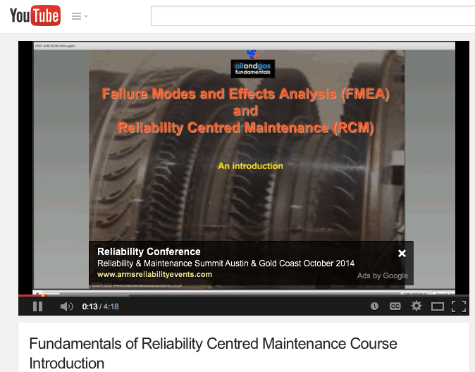 Fundamentals of Reliability Centred Maintenance Course Introduction