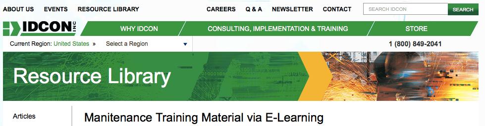 Maintenance Training Material via E-Learning
