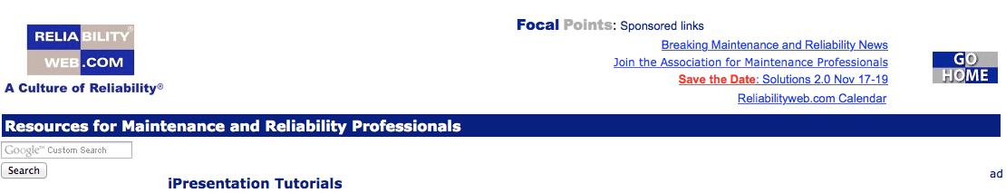 Reliabilityweb.com's iPresentation Tutorials