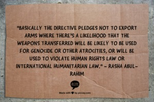 """Basically the directive pledges not to export arms where there's a likelihood that the weapons transferred will be likely to be used for genocide or other atrocities, or will be used to violate human rights law or international humanitarian law."" - Rasha Abul-Rahim"