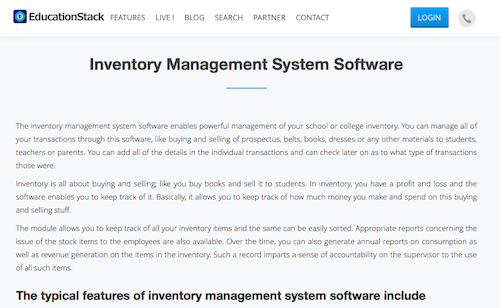 EducationStack Inventory Management System Software