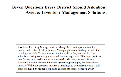 Seven Questions Every District Should Ask about Asset and Inventory Management Solutions