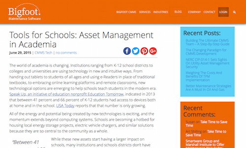 Tools for Schools Asset Management in Academia