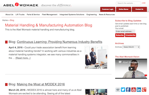 Material Handling and Manufacturing Automation Blog
