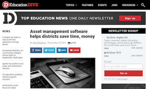 Asset Management Software Helps Districts Save Time Money