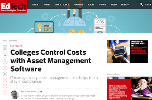 Colleges Control Costs with Asset Management Software