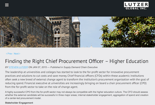 Finding the Right Chief Procurement officer Higher Education