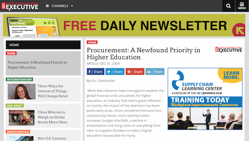 Procurement A Newfound Priority in Higher Education