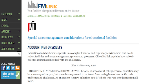 Special Asset Management Considerations for Educational Facilities Accounting for Assets