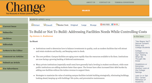 To Build or Not to Build Addressing Facilities Needs While Controlling Costs