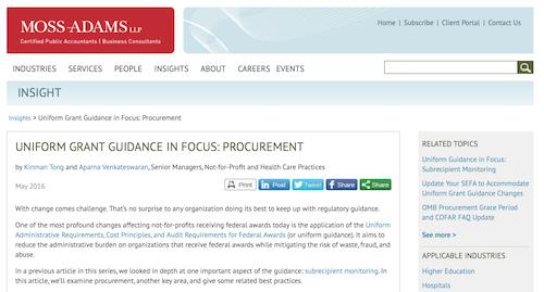 Uniform Grant Guidance in Focus Procurement