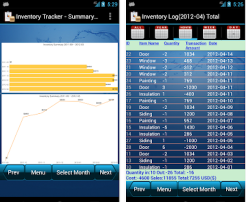 Inventory Tracker from Frank Android Software