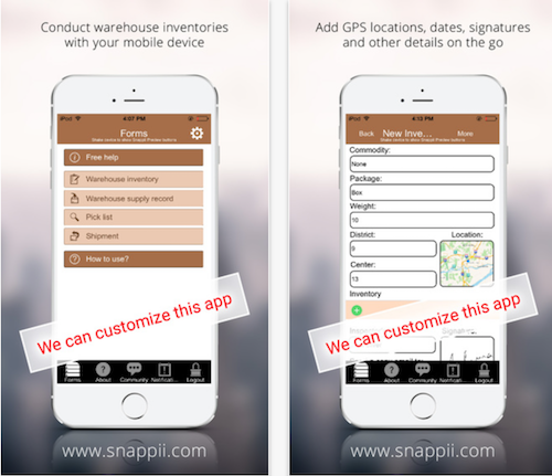 Snappii Warehouse Inventory and Shipment App