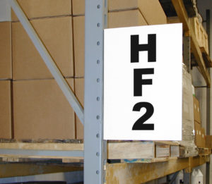 warehouse aisle sign