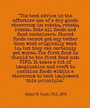 """The best advice in the effective use of a dry goods storeroom is: rotate, rotate, rotate. Date all foods and food containers. Stored foods cannot get any better than what originally went in, but they can certainly get worse. The first food in should be the first food out: FIFO. It takes a bit of imagination and craft to position foods within a storeroom to best implement this principle."" - Robert W. Powitz, Ph.D., MPH"