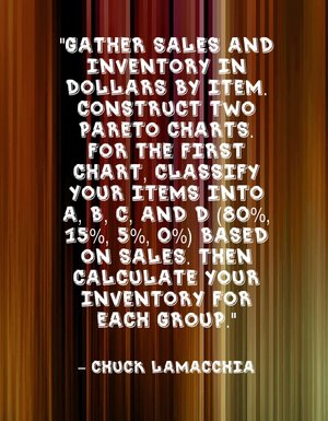 """Gather sales and inventory in dollars by item. Construct two Pareto charts. For the first chart, classify your items into A, B, C, and D (80%, 15%, 5%, 0%) based on sales. Then calculate your inventory for each group."" - Chuck LaMacchia"
