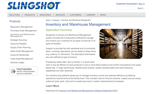 Slingshot Inventory and Warehouse Management