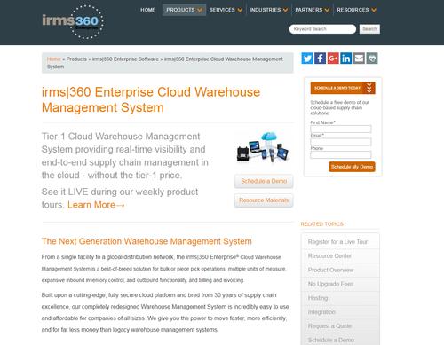 irms 360 Enterprise Cloud WMS