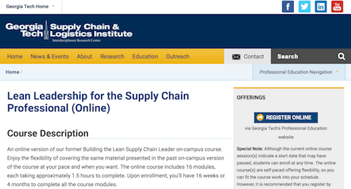 Lean Leadership for the Supply Chain Professional (Online)