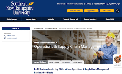 Online Graduate Certificate in Operations & Supply Chain