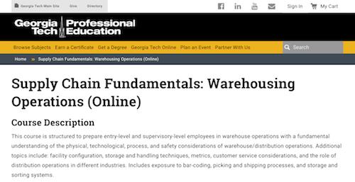Supply Chain Fundamentals Warehousing Operations (Online)