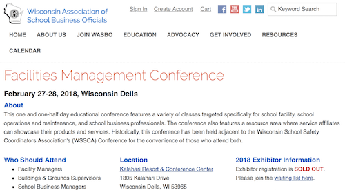 WASBO Facilities Management Conference