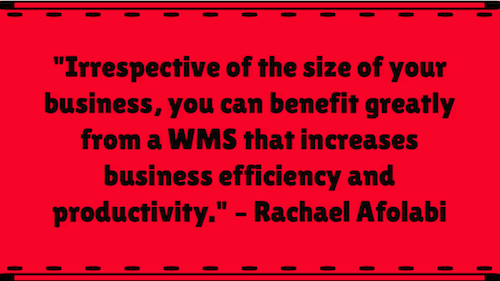 """Irrespective of the size of your business, you can benefit greatly from a WMS that increases business efficiency and productivity."" – Rachael Afolabi"