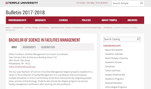 Bachelor of Science in Facilities Management
