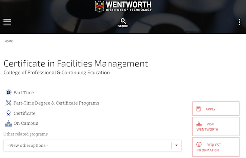 Certificate in Facilities Management - Wentworth Institute of Technology