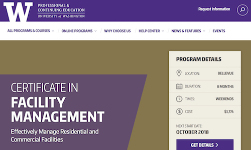Certificate in Facility Management - University of Washington Professional & Continuing Education
