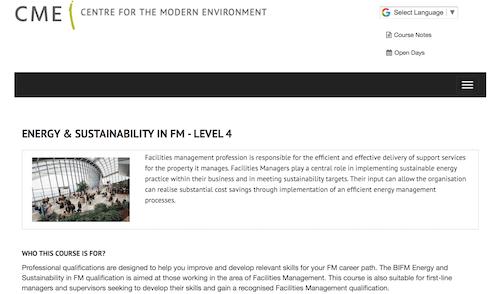 Energy & Sustainability in FM - Level 4