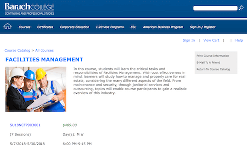 Facilities Management - Baruch College Continuing and Professional Studies