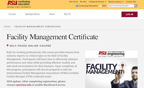 Facilities Management Certificate - Arizona State University