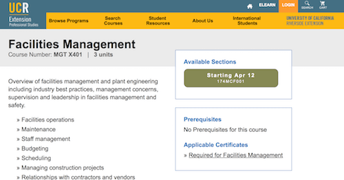 Facilities Management Course - University of California Riverside Extension