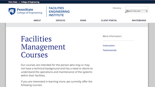 Facilities Management Courses - Penn State Facilities Engineering Institute