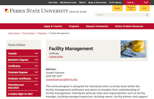Facility Management Certificate - Ferris State University
