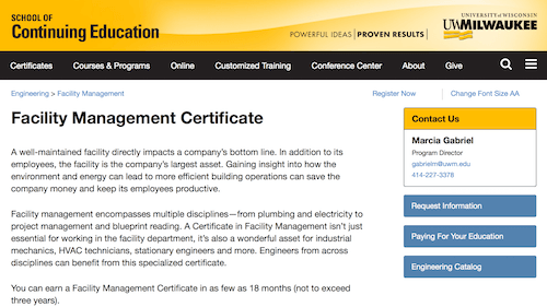 Facility Management Certificate - University of Wisconsin Milwaukee