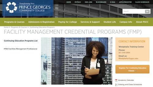 Facility Management Credential Programs (FMP)