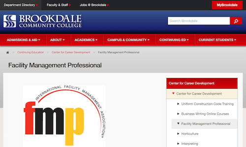 Facility Management Professional - Brookdale Community College