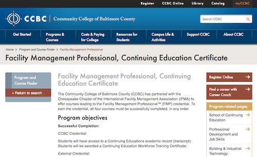 Facility Management Professional, Continuing Education Certificate