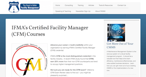 IFMA's Certified Facility Manager CFM Courses