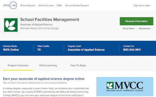 School Facilities Management, Associate of Applied Science