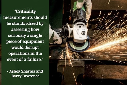 """Criticality measurements should be standardized by assessing how seriously a single piece of equipment would disrupt operations in the event of a failure.""--Ashok Sharma and Barry Lawrence"